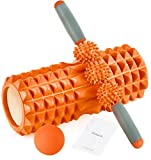 HBselect Faszienrolle 3in1 Set Wirbelsäule Foam Roller Massagerollen Duoball Massagestäbchen Massageball (orange A)