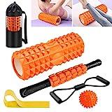 Faszienrolle, Qveetry Foam Roller Faszienrolle Sets mit Massageroller Stab, Widerstandsbänder Krafttraining, 33cm Schaumstoffrolle für Yoga Pilates
