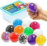 ZaxiDeel 12 Anti-Stressbälle zum Kneten, Bunte Quetschball mit Wasse Perlen für Dekompression, ADHS Erwachsene und Kindern
